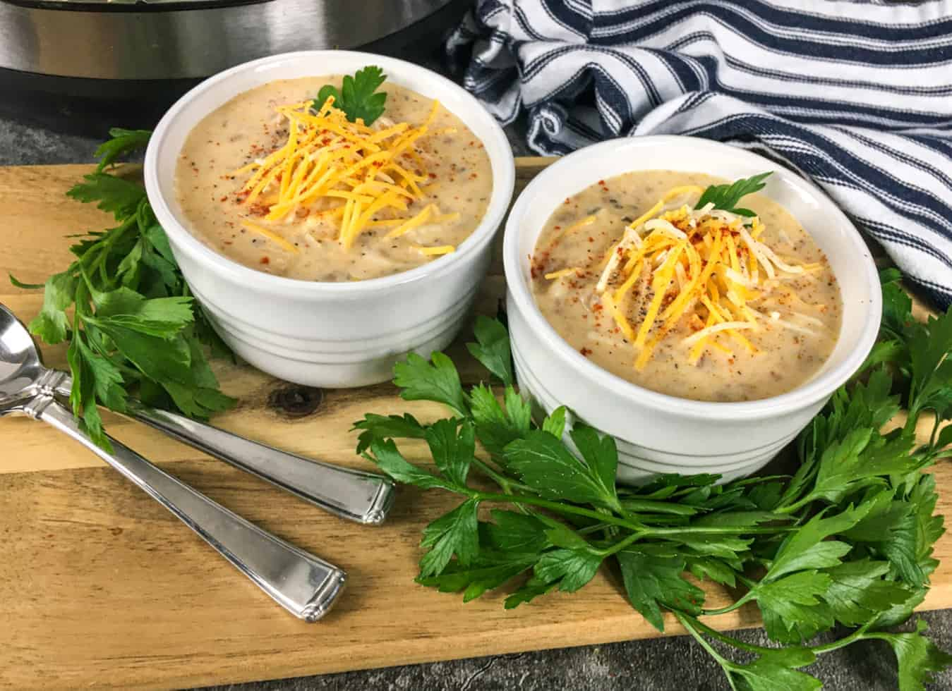 cups of cheeseburger soup
