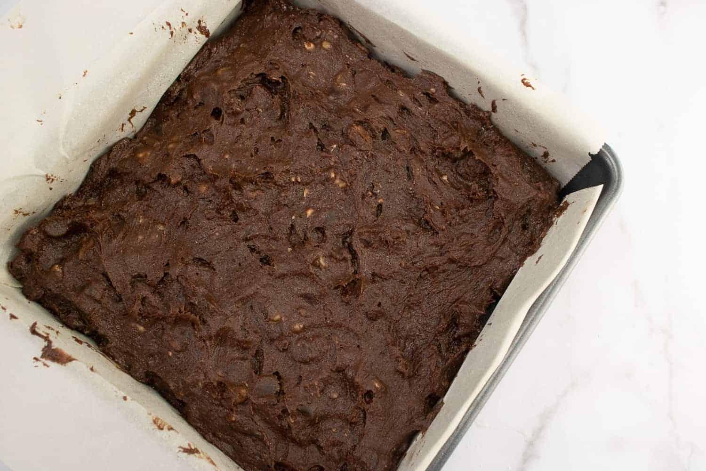 brownie batter in a pan