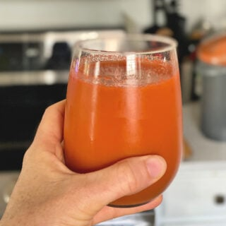 glass of homemade carrot juice
