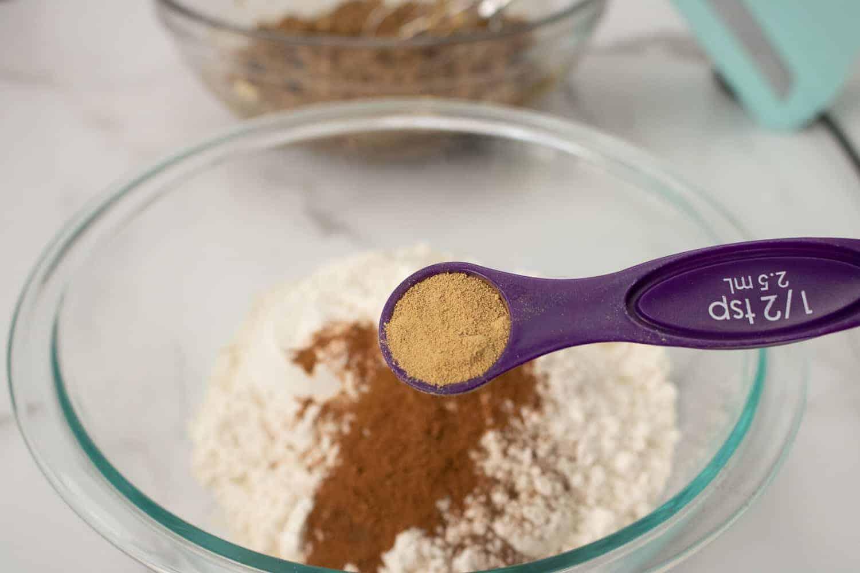 adding spices to flour