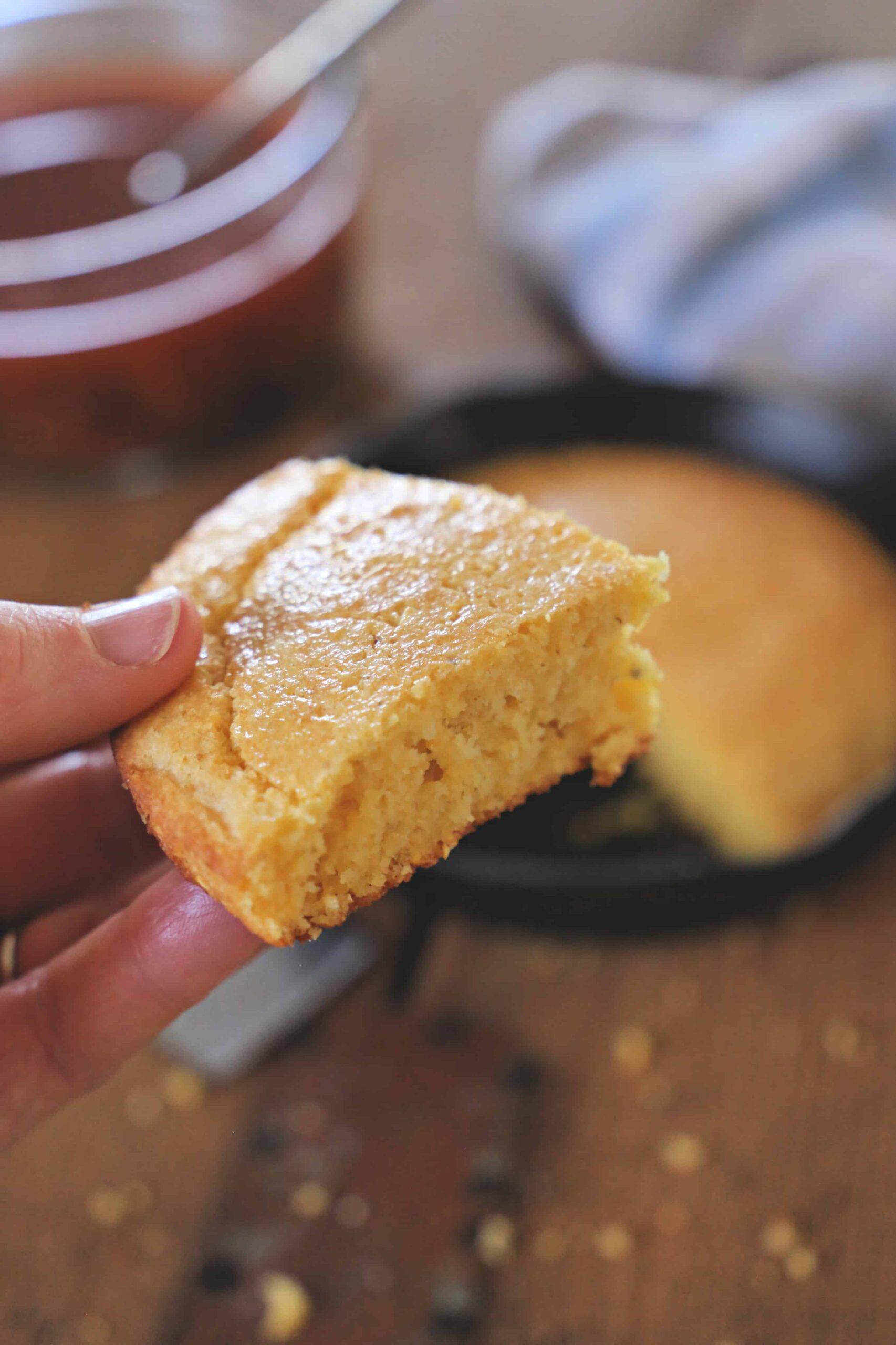 small slice of cornbread