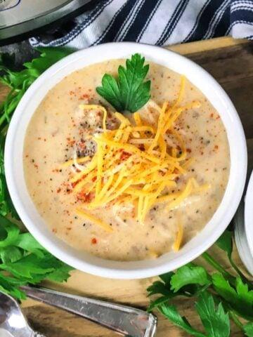 bowl of cheeseburger soup