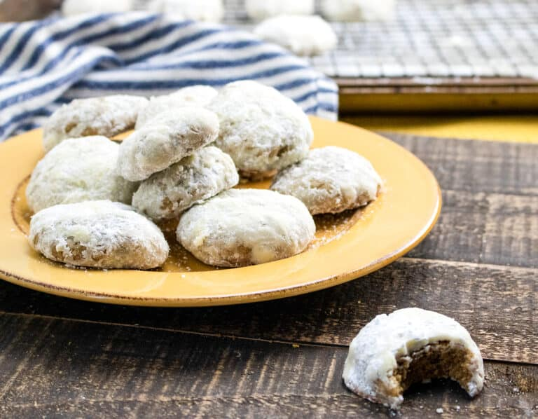 powdered sugar-coated spice cookies on a plate
