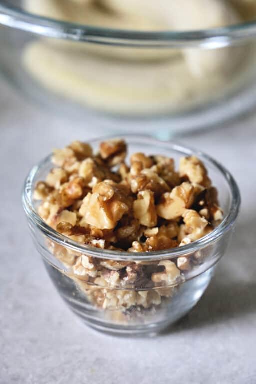 bowl of chopped walnuts