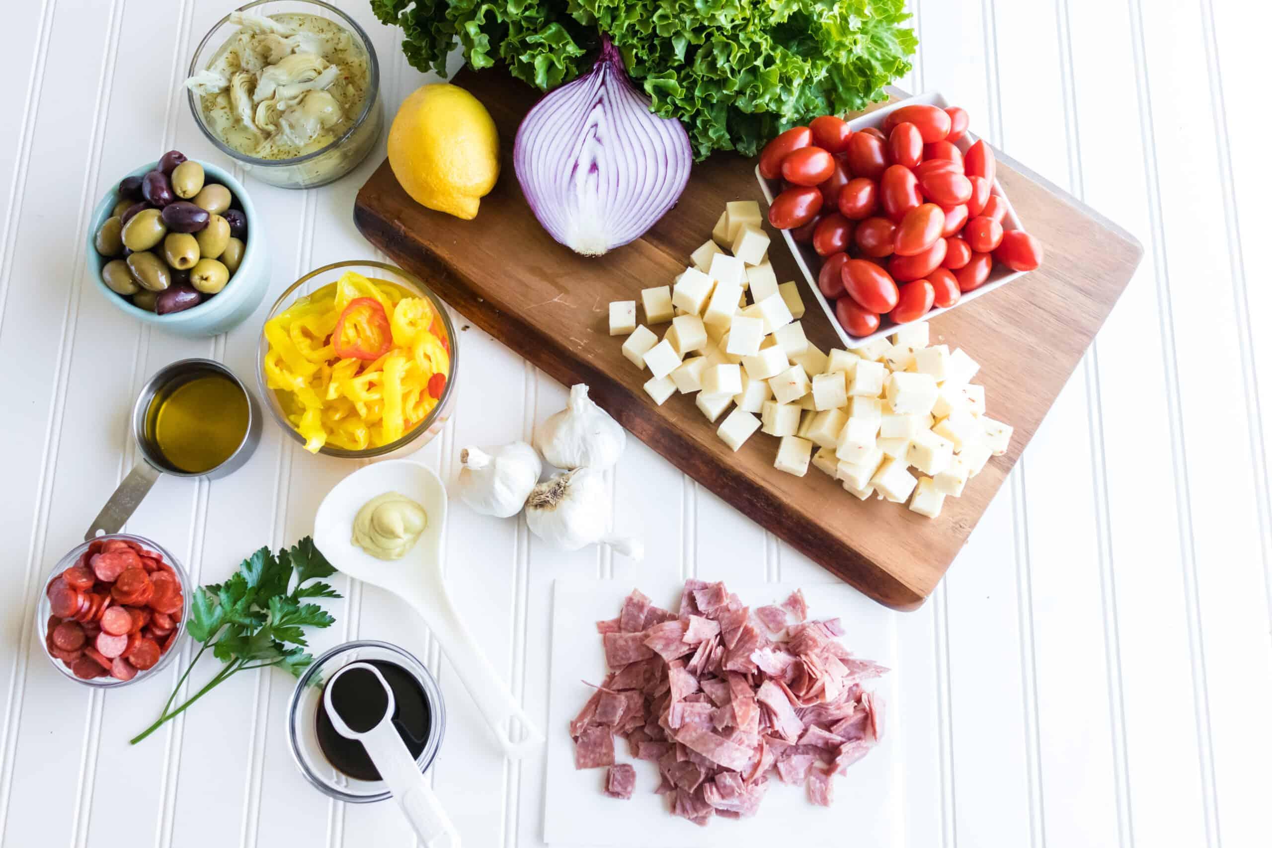 ingredients to make antipasto salad