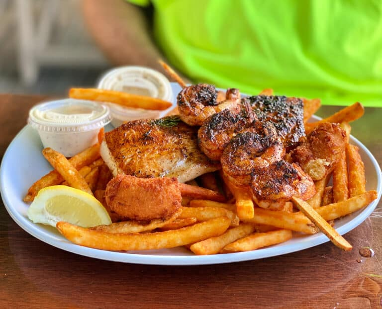 blackened fish and blackened shrimp with French fries