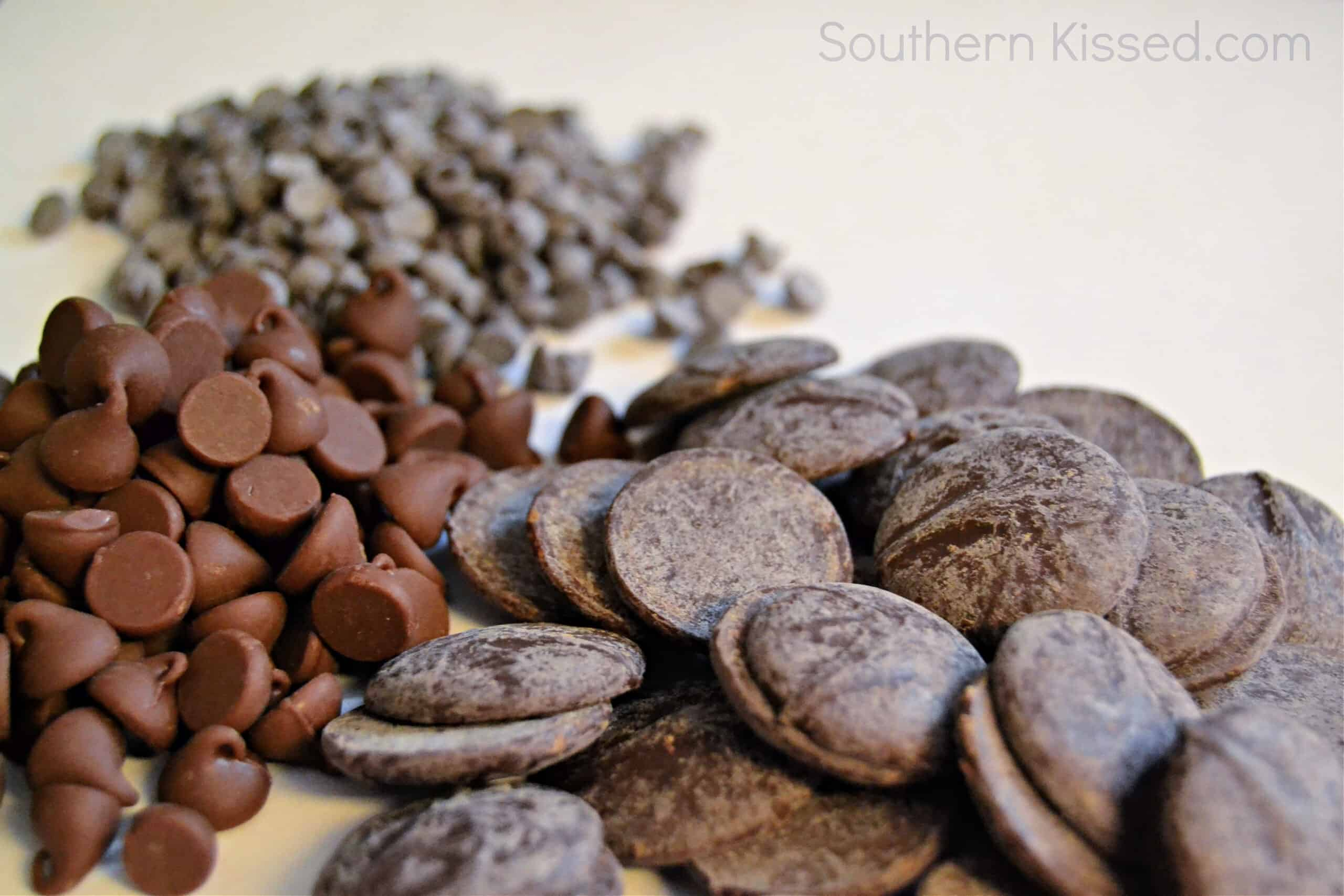 three different kinds of chocolate chips