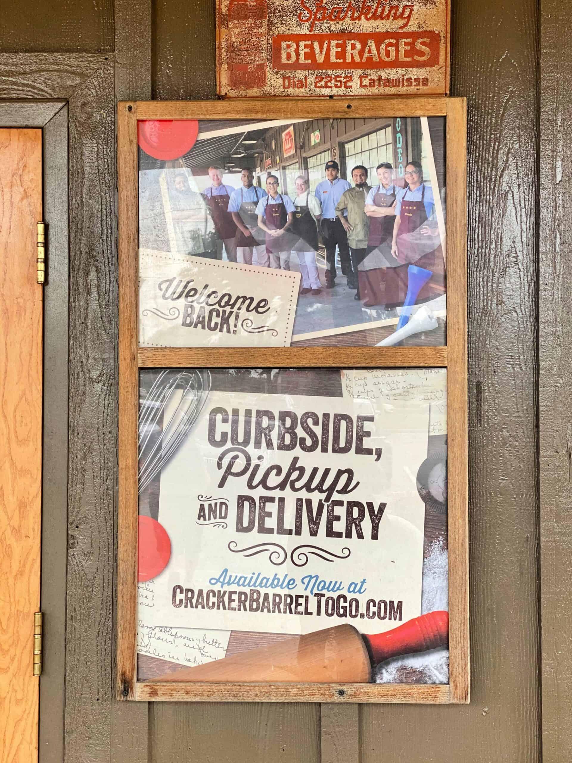 Cracker Barrel curbside pick up sign