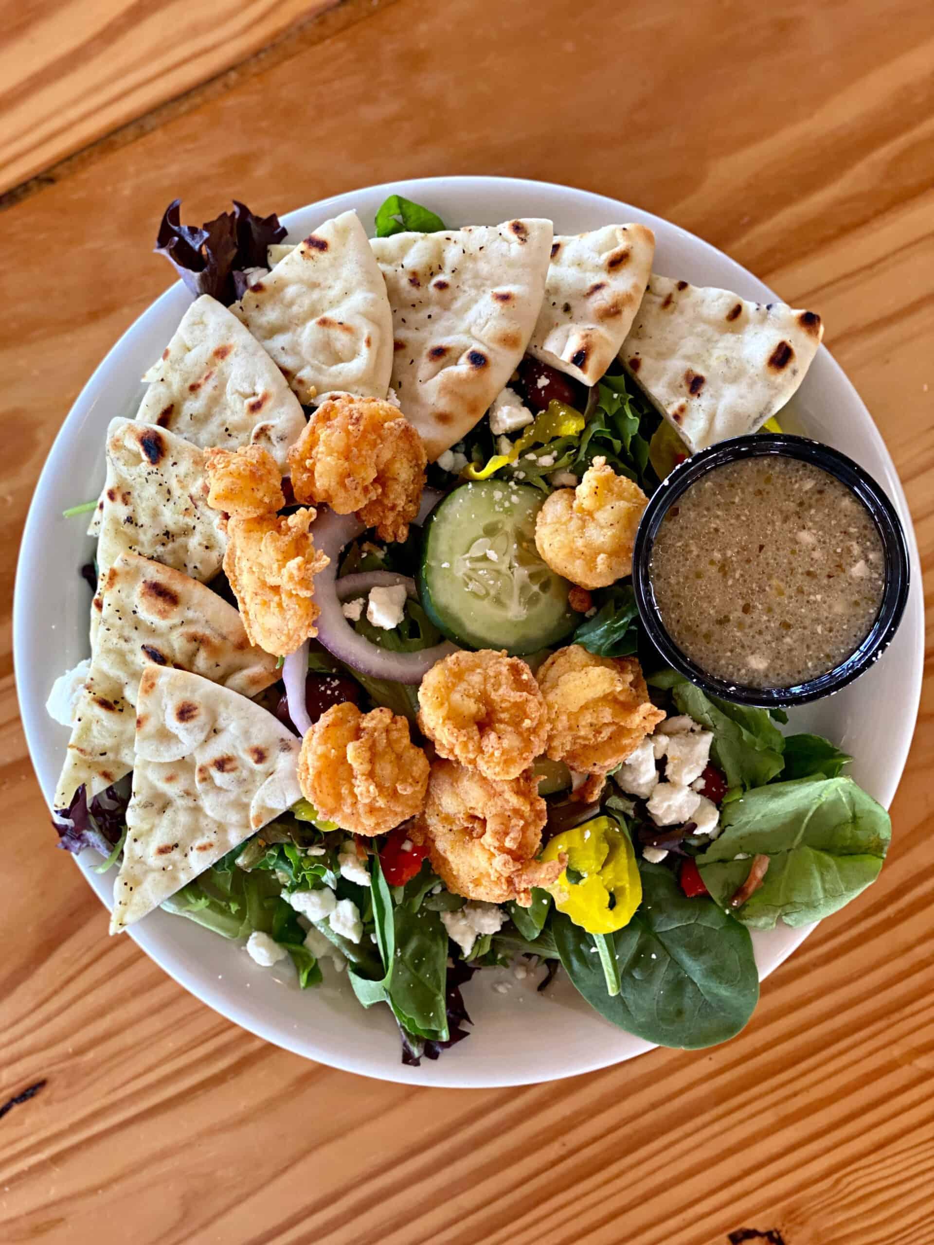 Greek Salad with Fried Shrimp at Flora-Bama Yacht Club