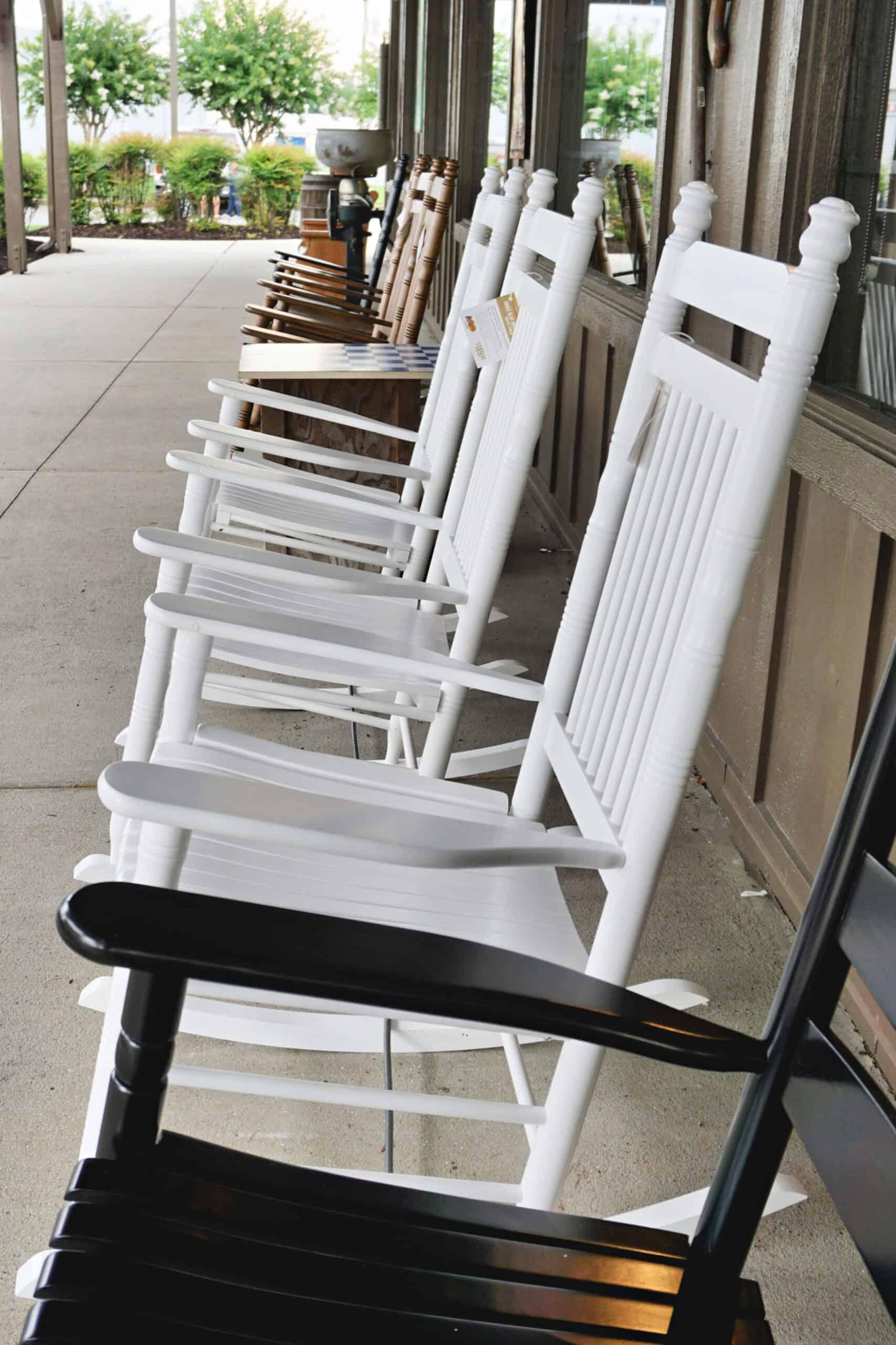 rocking chairs outside Cracker Barrel