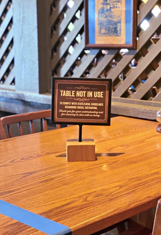 table inside dining area of Cracker Barrel