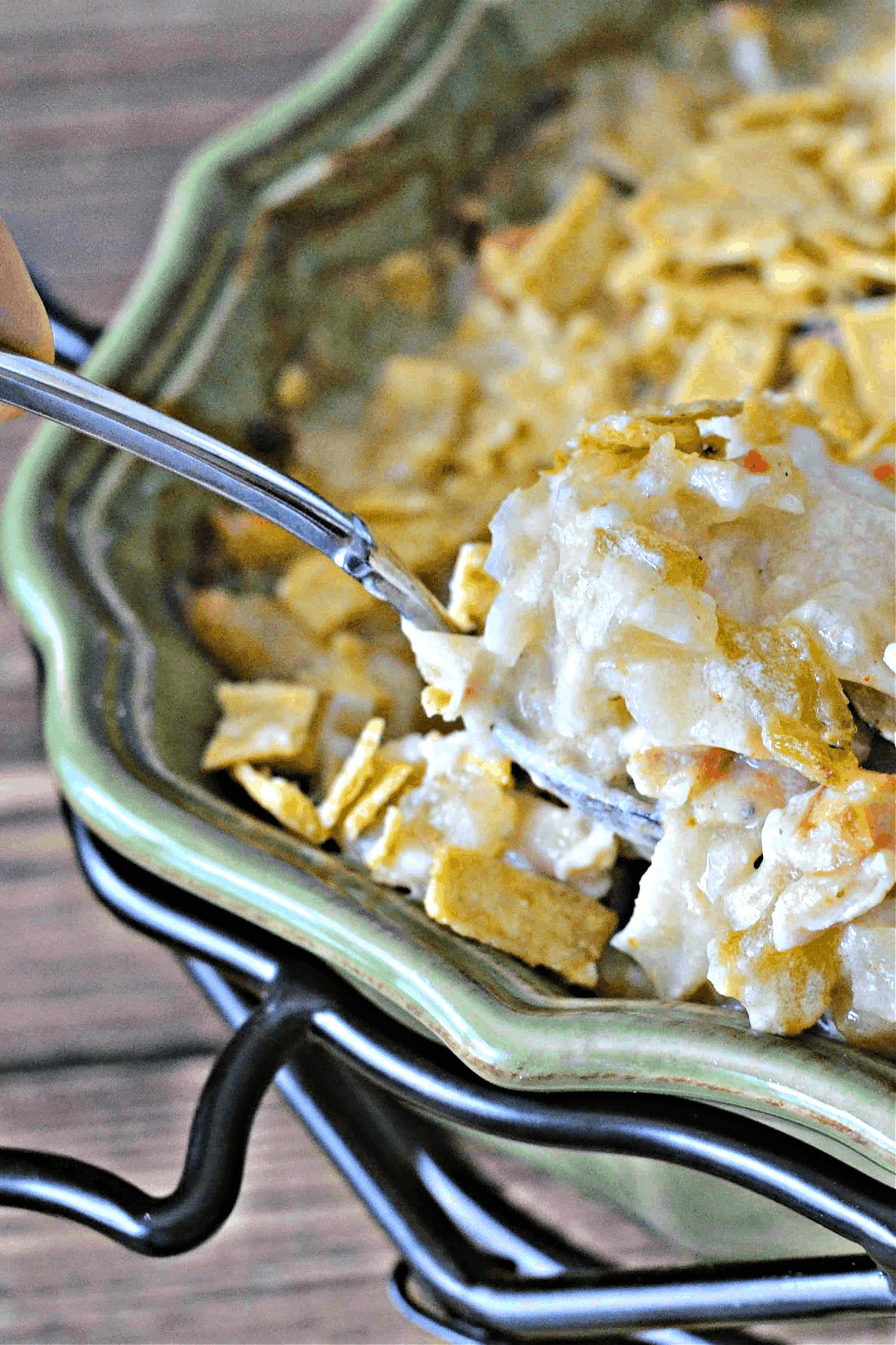 chicken and potatoes casserole in a casserole dish