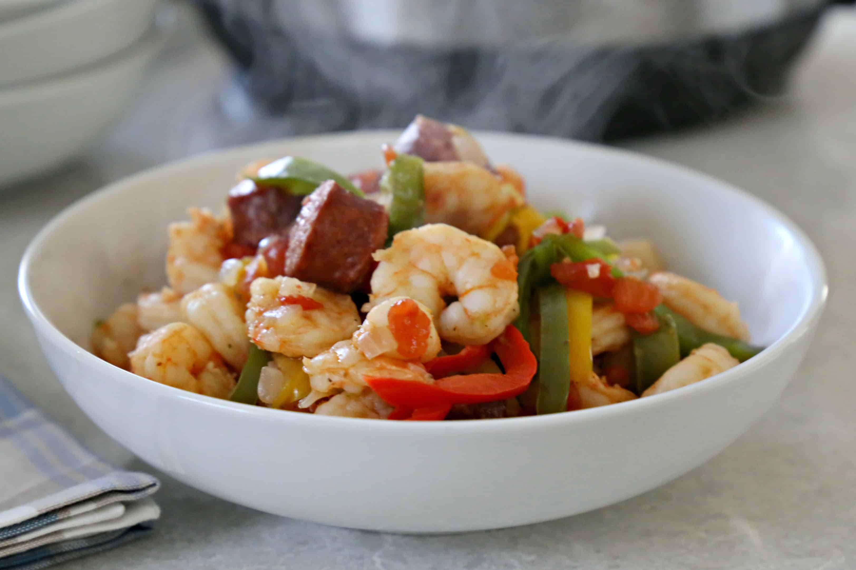 Shrimp, Smoked Sausage, and Peppers