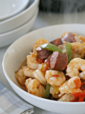 bowl of shrimp and peppers