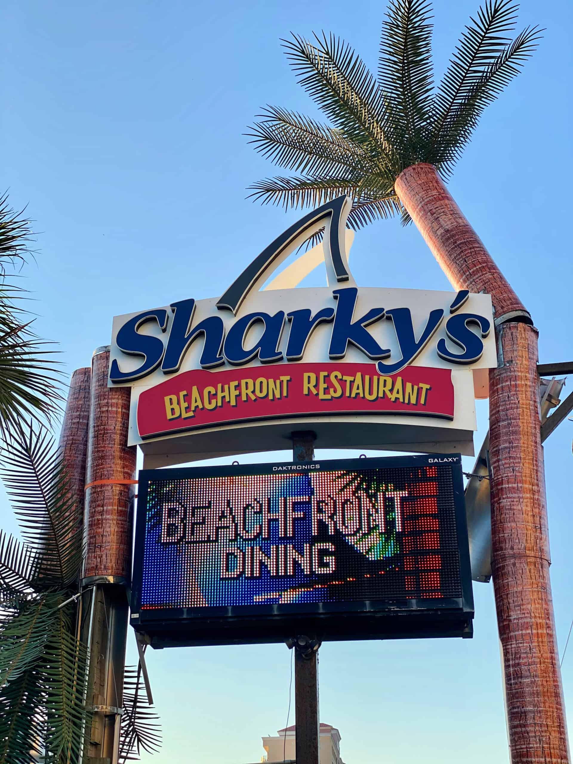 Sharky's Beachfront Restaurant sign