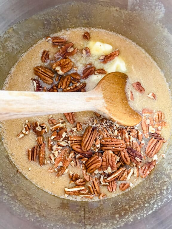 pecans and caramelized sugar