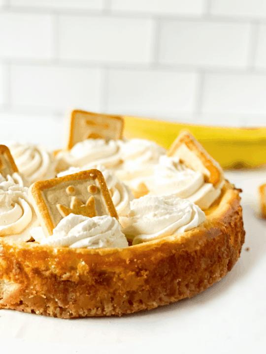 Banana Pudding Cheesecake on Counter