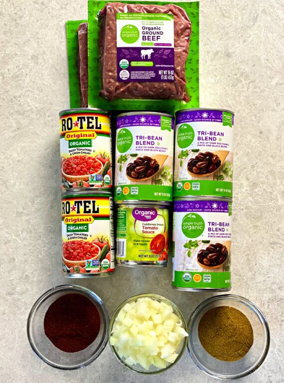 Ingredients to make Wendy's Chili