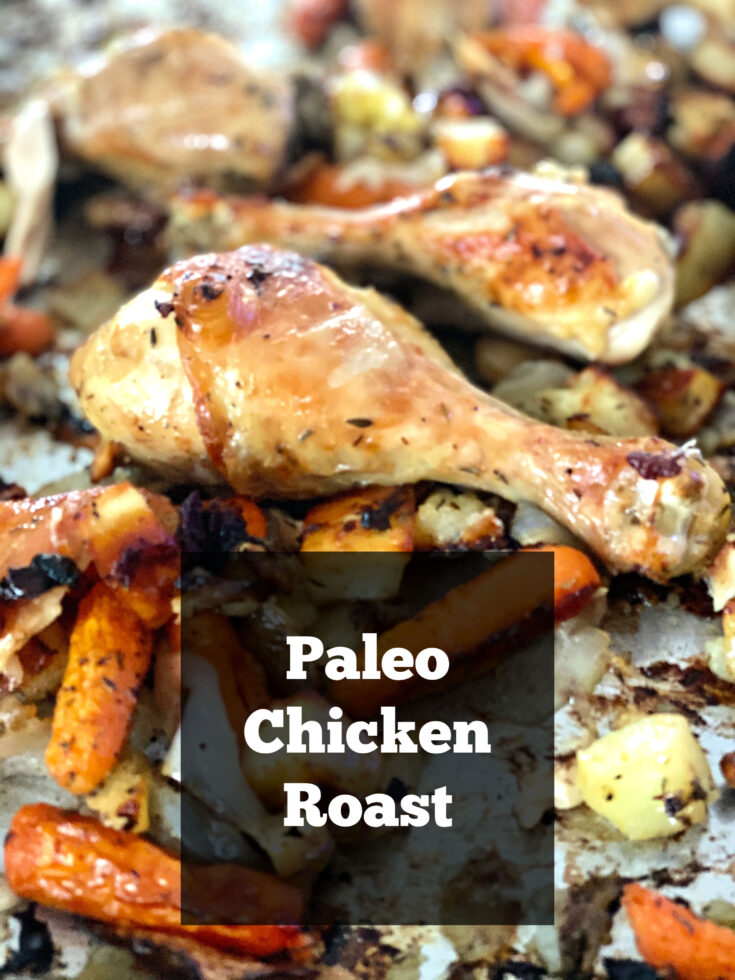 Caveman Chicken and Vegetable Roast is a simple yet delicious sheet pan meal that your whole family will enjoy.  Roasting brings out the flavors of the wholesome vegetables. #Paleo #chicken #sheetpan