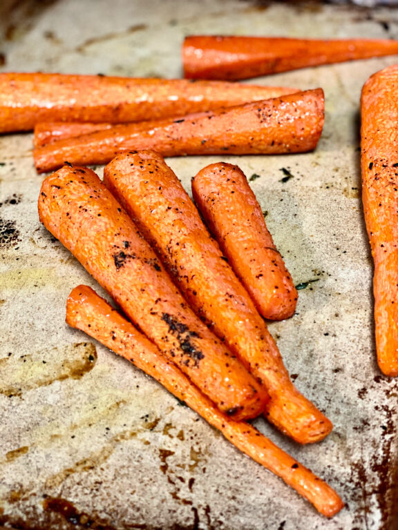 roasted carrots on sheet pan