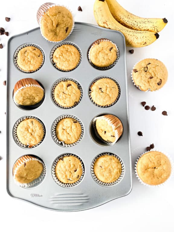 gluten-free banana muffins in a muffin pan