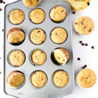 pan of banana muffins with chocolate chips