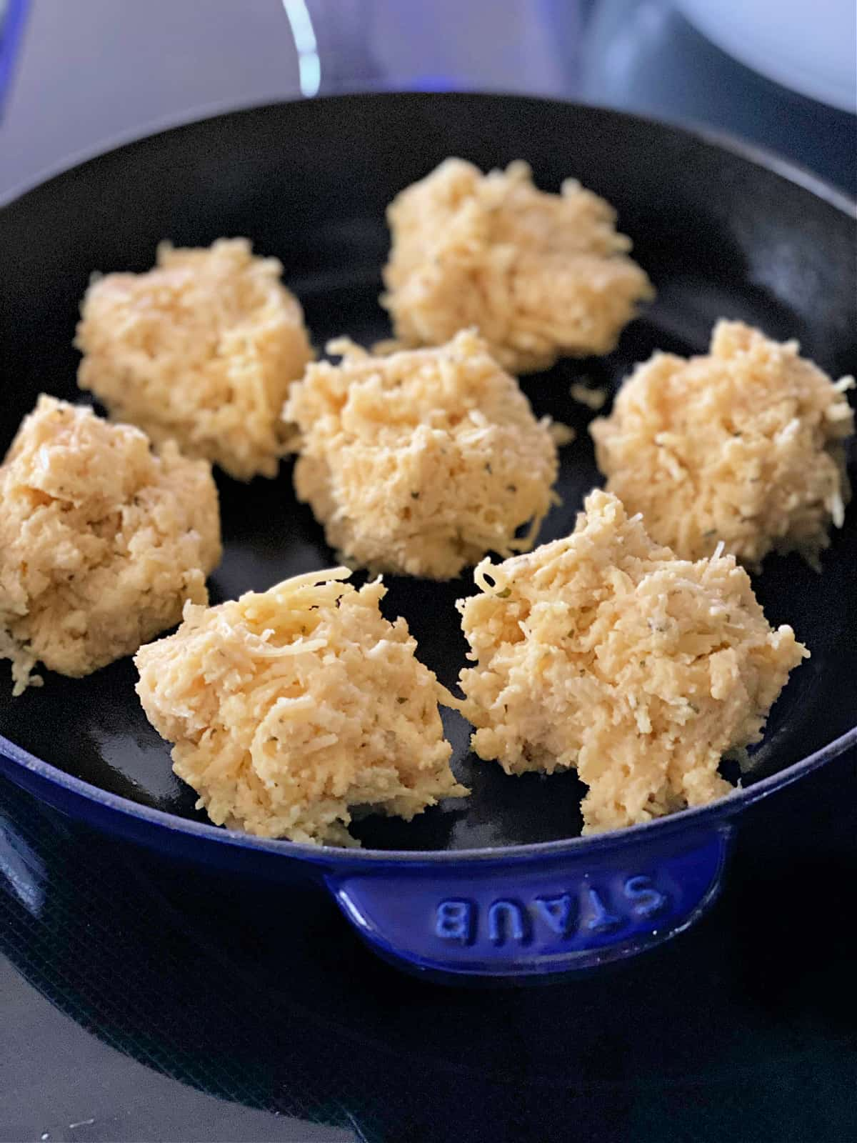 biscuit dough in a skillet