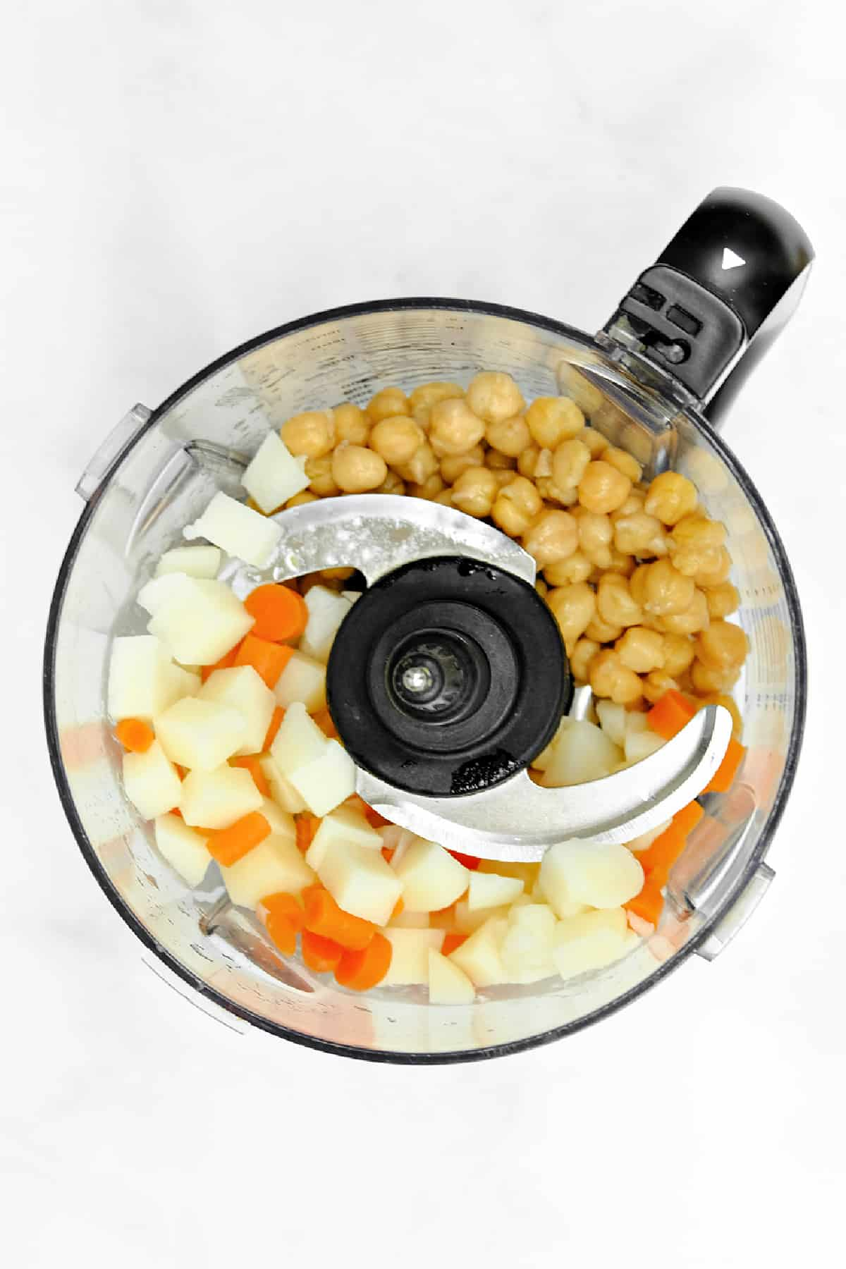 vegetables in food processor