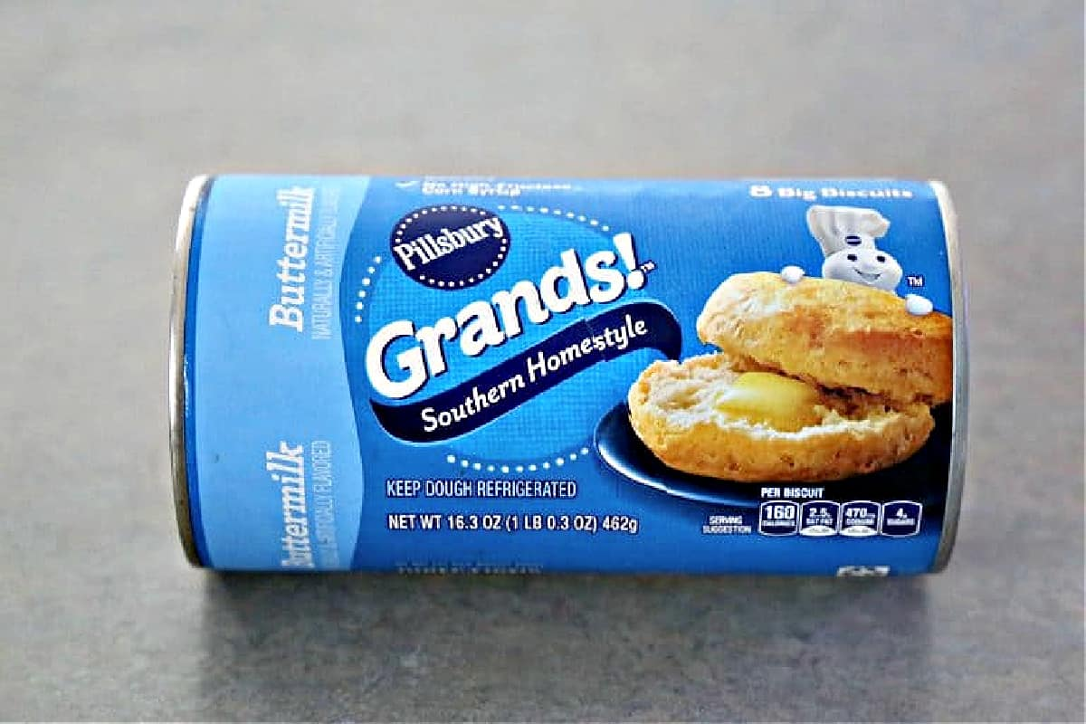 A can of Grands Southern Homestyle biscuits.