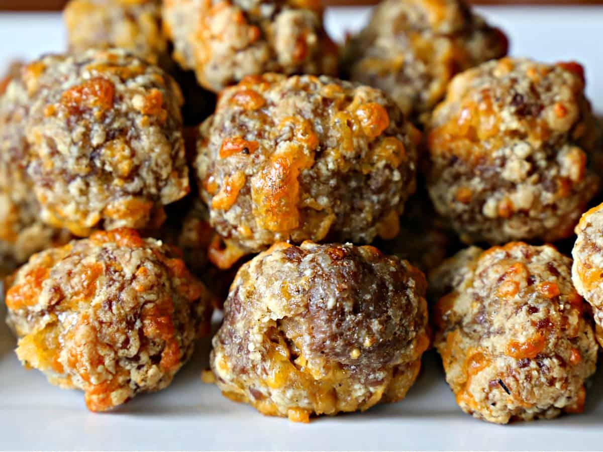 gluten-free sausage balls on a platter