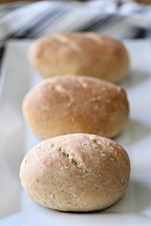 three whole wheat loaves