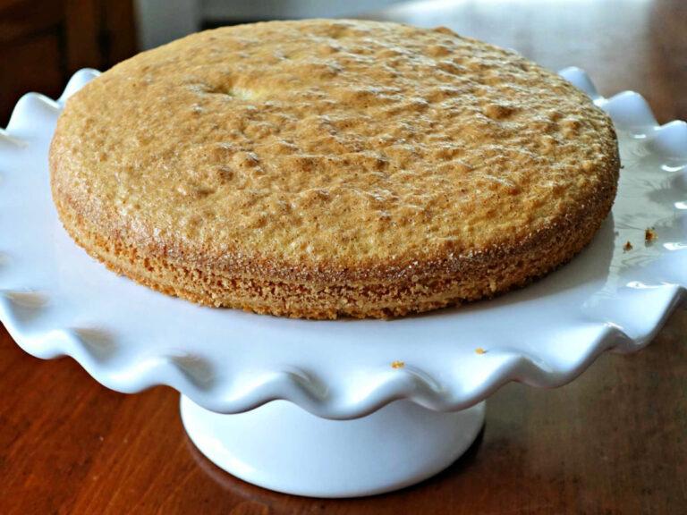 plain almond flour cake on a pedestal