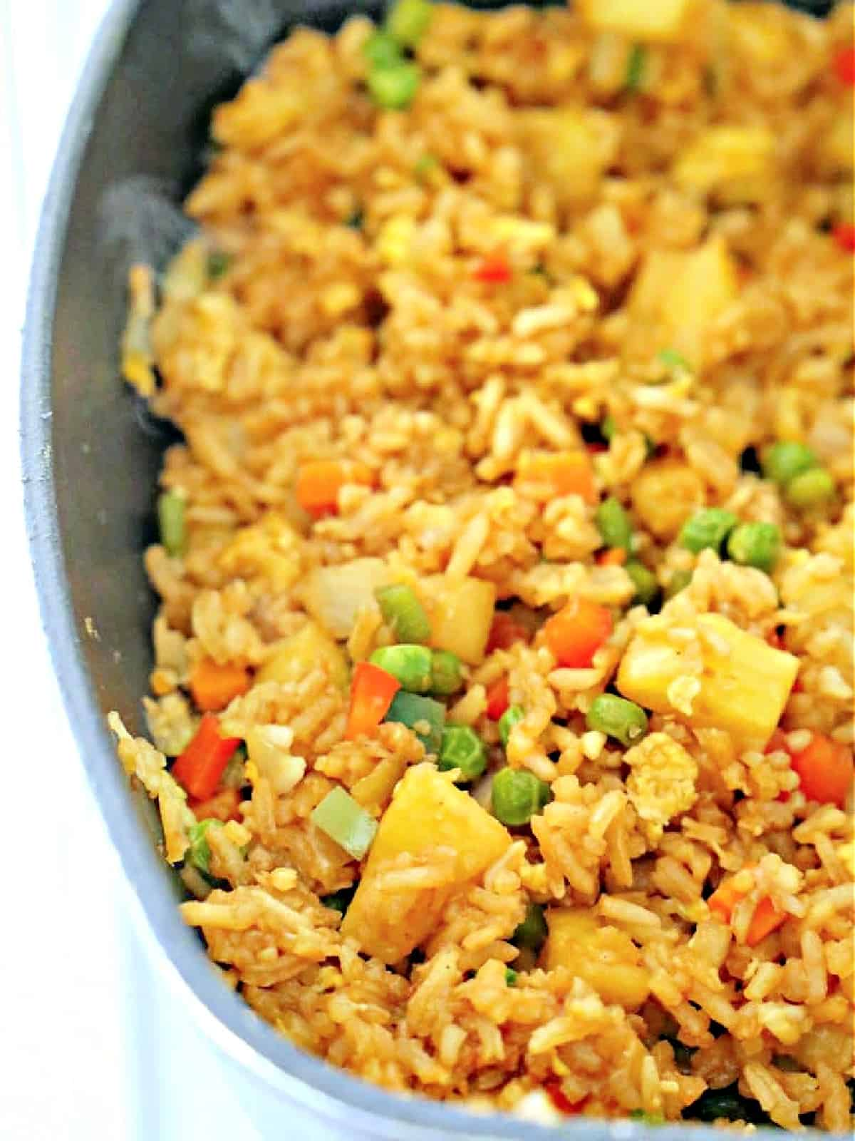 pan of tropical fried rice