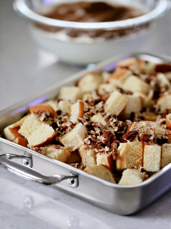 Pan with French Toast cubes