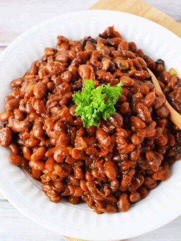 slow cooked baked beans in a bowl
