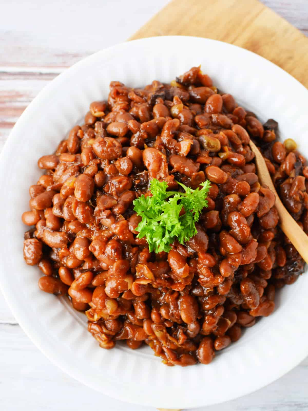 homemade baked beans on a serving dish