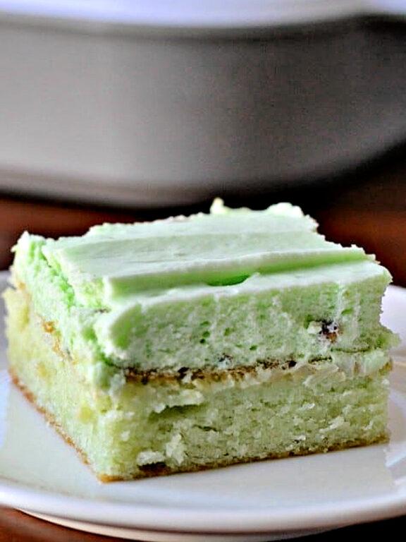 slice of Watergate cake