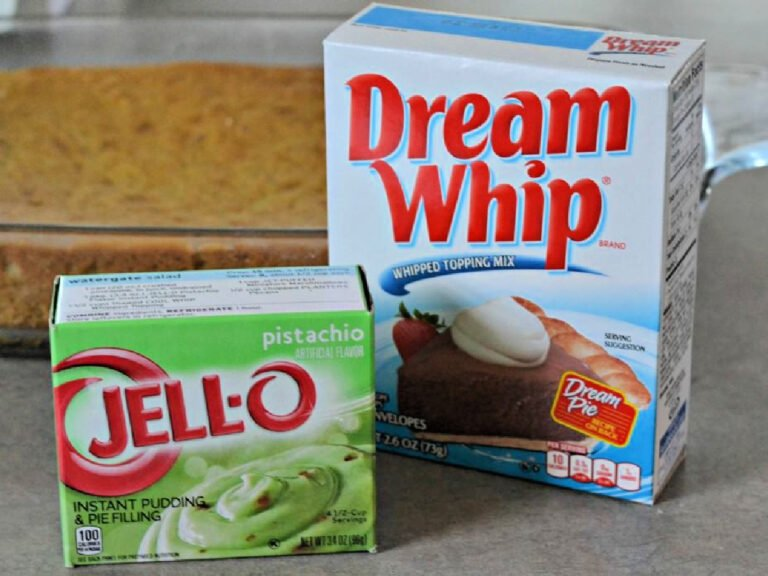 box of Jell-O pistachio pudding and box of Dream Whip