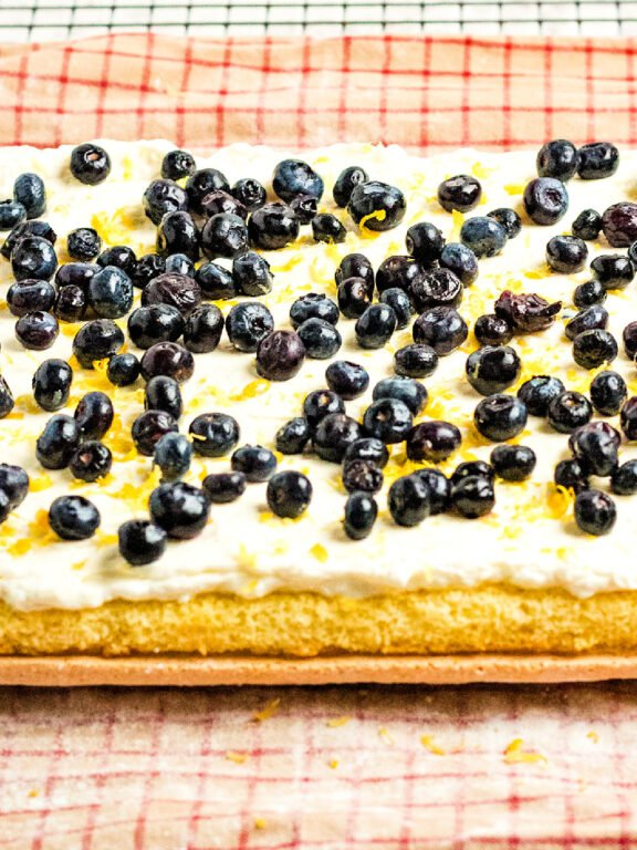 blueberries on top of filling
