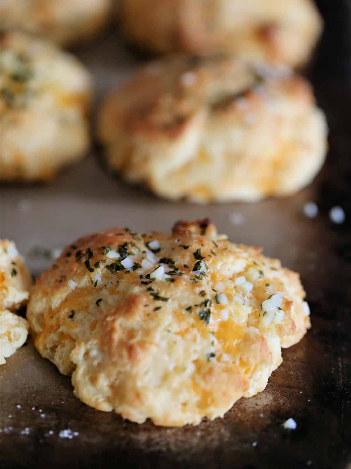 Cheddar Bay Biscuit clone on a baking sheet
