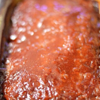 brown sugar glazed meatloaf in a pan