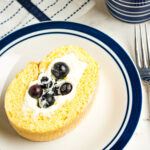 slice of lemon cake with blueberries