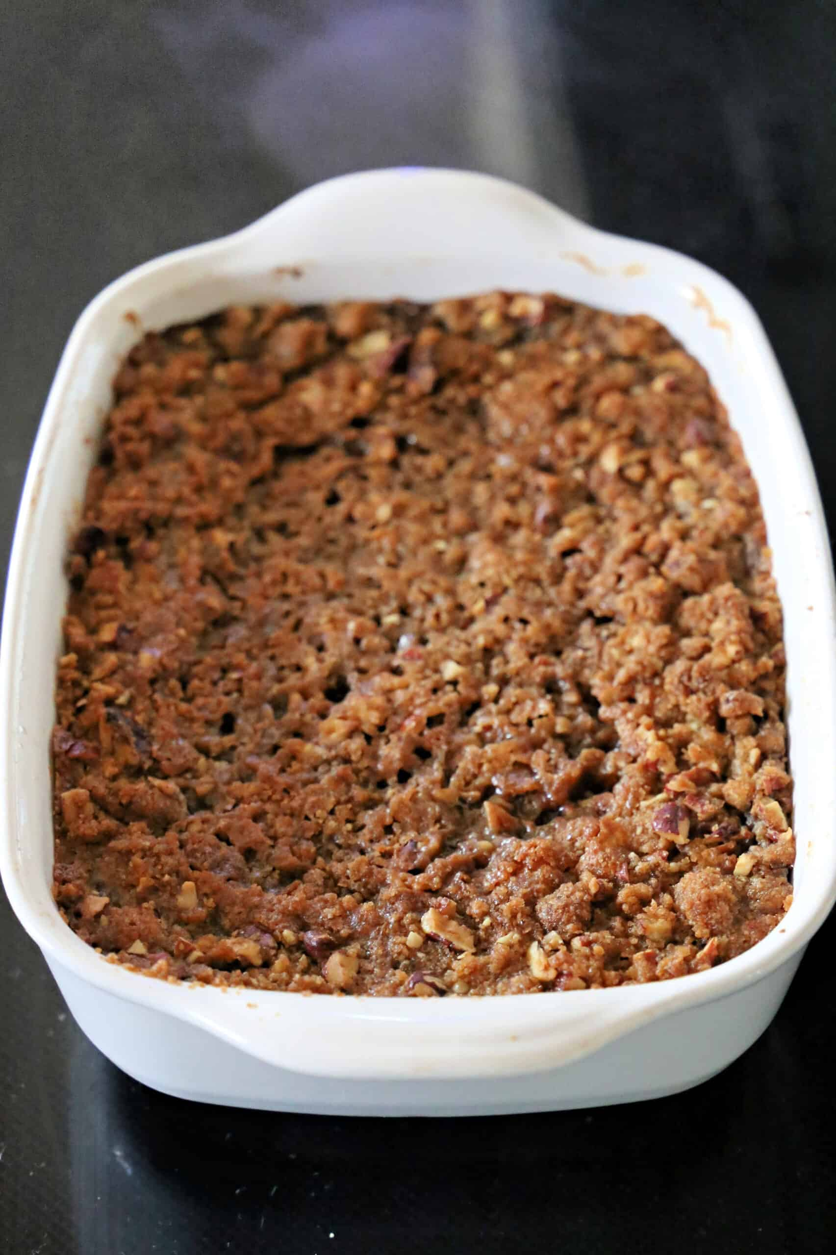 sweet potato casserole with crunchy pecan topping