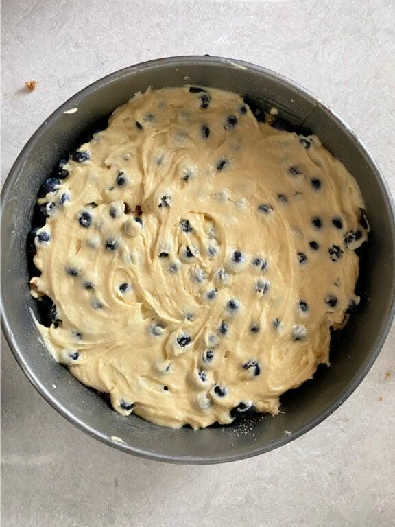 top cake layer of coffee cake