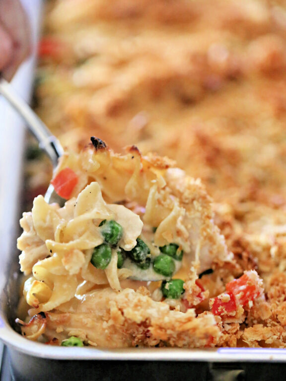 Chicken Noodle Casserole in 9x13 baking dish