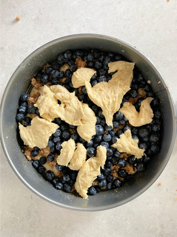 drops of coffee cake on blueberries