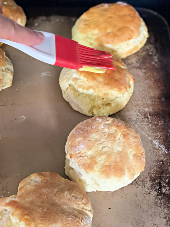 buttering hot biscuits