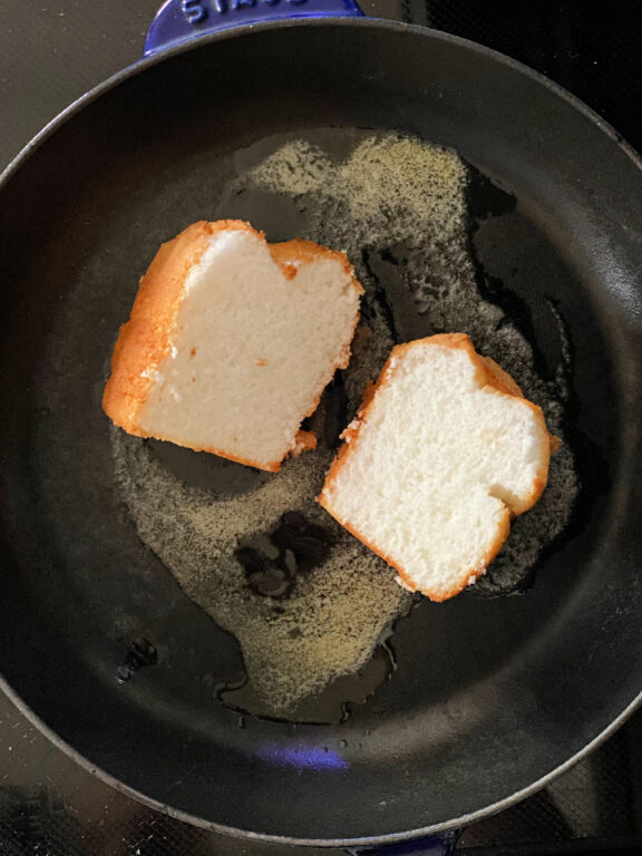 angel food cake toasting in butter in a skillet
