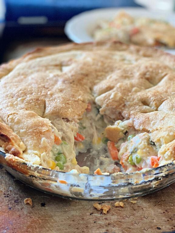 inside a chicken pot pie