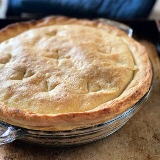 chicken pot pie in pie pan